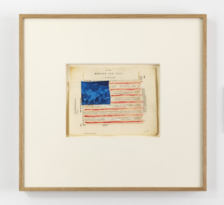 Lenore Tawney Adulterated Flag, 1975 Collage, paper, watercolour, acrylic 17.8 x 22.2 cm, 7 x 8 3/4 ins 45.7 x 54 x 3.3 cm, 18 x 21 1/4 x 1 1/4 ins, framed Signed LT 10.1.75 Titled : Adulterated Flag