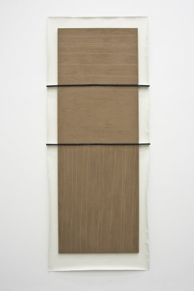 N. Dash Untitled, 2013 Adobe, jute, canvas Overall dimensions: 292 x 121 cm / 115 x 47 5/8 ins