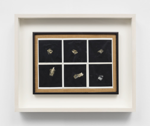 Dorothea Tanning Fabius tourne dans son sommeil (Fabius turns in his sleep), 1990 Collage with Scotch Tape and Polaroid photographs on cardboard 20.3 x 28.9 cm, 8 x 11 3/8 ins 34 x 42.2 cm, 13 3/8 x 16 5/8 ins, framed Inscribed and signed 'Fabius tourne dans son sommeil. Voici' (top), 'les positions successives' (lower centre), 'Dorothea Tanning' (lower right)