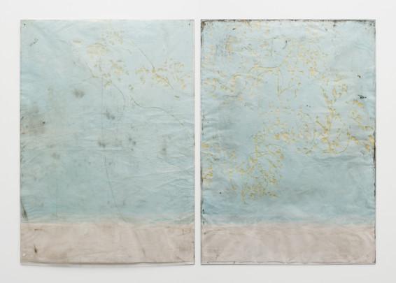 Ian Kiaer Endnote, ping (marder/blue), 2018 Acrylic, pencil on paper, Plexiglas 166 x 239.3 x 1 cm, 65 1/4 x 94 1/4 x 3/8 ins Left panel: 166 x 118.5 x 1 cm, 65 3/8 x 46 5/8 x 1 ins Right panel: 165.8 x 118 x 1 cm, 65 1/4 x 46 1/2 x 1 ins