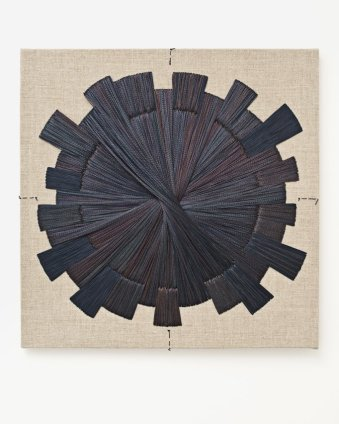 Sheila Hicks Acier I, 2013 Signed, dated and titled on verso Stainless steel fibre, linen, nylon, on wooden stretcher 50 x 50 x 4 cm / 19 3/4 x 19 3/4 x 1 5/8 ins