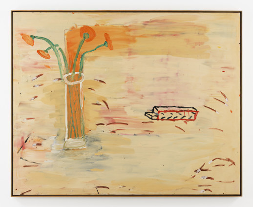 Roy Oxlade Orange Gerbera's and Piece of Wood, 1984 Oil on canvas 121.2 x 151.2 cm, 47 3/4 x 59 1/2 ins 123.8 x 153.8 cm, 48 3/4 x 60 1/2 ins, framed signed