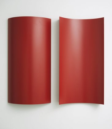 Charlotte Posenenske Relief Serie B, 1967-2014 2 elements, aluminium, sprayed standard RAL matte red 100 x 50 x 14 cm / 39 3/8 x 19 3/4 x 5 1/2 ins each Authorized Reconstruction Certified by the Estate