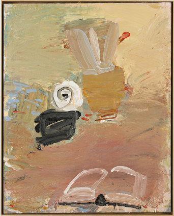 Roy Oxlade  Brushes, Shell and Book, 1984  Oil on canvas  101.6 x 81.3 cm, 40 x 32 1/8 ins  104.2 x 83.9 cm, 41 1/8 x 33 1/3 ins framed