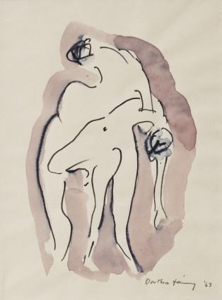 "Dorothea Tanning Untitled (""Pen and Wash Drawing""), 1963 Ink, watercolour and wash on paper Unframed: 24.1 x 15.9 cm / 9 1/2 x 6 1/4 ins Framed: 37.1 x 29.8 x 3.8 cm / 14 5/8 x 11 3/4 x 1 1/2 ins Signed l.r. ""Dorothea Tanning '63"", inscribed l.l. ""Etude 1968' erased"