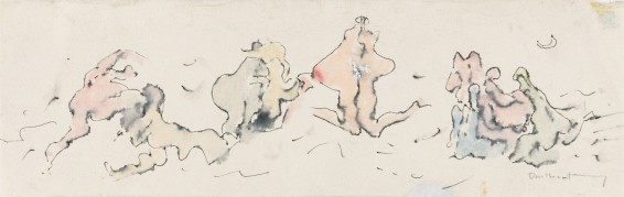 "Dorothea Tanning Untitled (Frieze), c. 1970s Ink and wash on paper Unframed: 12.7 x 40.6 cm / 5 x 16 ins Framed: 36.9 x 62.8 cm / 14 1/2 x 24 3/4 ins Signed l.r. ""Dorothea Tanning"""