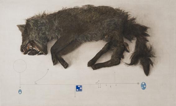 Graham Little Untitled (Fox), 2017 Gouache on paper 47.2 x 77.7 cm, 18 5/8 x 30 5/8 ins 77.5 x 105.8 cm, 30 1/2 x 41 5/8 ins, framed