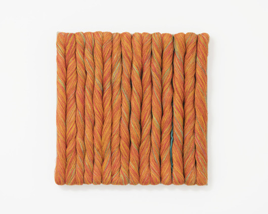 Sheila Hicks  Torsade Orange, 2015  Linen  51 x 50 cm, 20 1/8 x 19 3/4 ins  Signed on verso