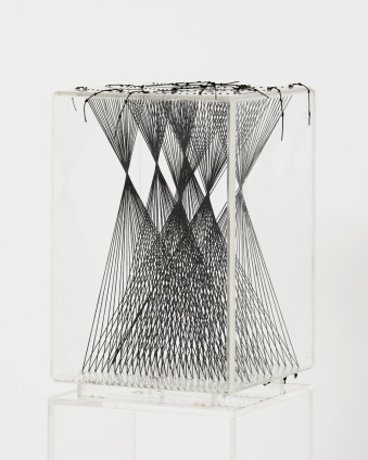 Lenore Tawney Drawing in Air III, 1997 Waxed linen, perspex 27.2 x 18 x 18 cm, 10 3/4 x 7 1/8 x 7 1/8 ins 124 x 18 x 18 cm, 48 7/8 x 7 1/8 x 7 1/8 ins, plinth size