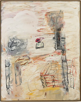 Roy Oxlade  Anemone and Box, 1984  Oil on canvas  151.7cm x 121 cm, 59 3/4 x 47 5/8 ins  154.3 x 123.8 cm, 60 3/4 x 48 3/4 ins framed