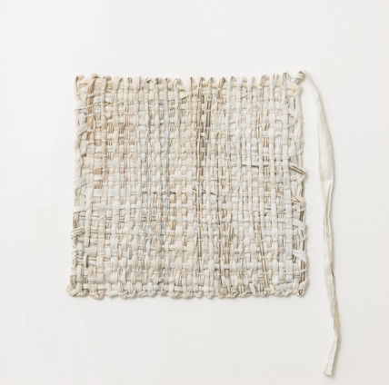 Sheila Hicks  Shaker, 2017  Cotton  29 x 24 cm, 11 3/8 x 9 1/2 ins  41.2 x 41.2 cm, 16 1/4 x 16 1/4 ins framed