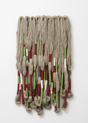 Sheila Hicks  Sculpture Bas Relief, 2016  Linen  Composed of 9 Elements 150 x 100 x 12 cm 59 1/8 x 39 3/8 x 4 3/4 ins
