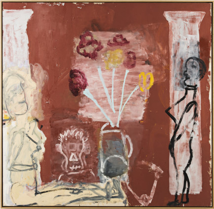 Roy Oxlade  Blue Stalks, 1998  Oil on Canvas  169.4 x 173.5 cm, 66 3/4 x 68 1/4 ins  175.4 x 177.5 cm, 69 1/8 x 69 7/8 ins framed