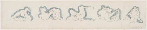 "Dorothea Tanning Eventful Friezes, 1974 Crayon and watercolour on paper 13.3 x 66 cm, 5 1/4 x 26 ins 37.5 x 88.2 cm, 14 3/4 x 34 3/4 ins, framed Signed l.r. ""Dorothea Tanning 74"""