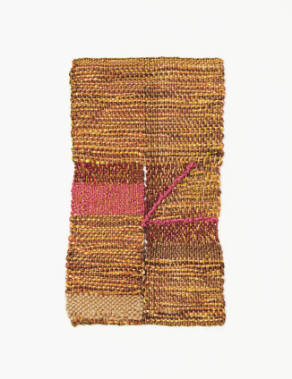 Sheila Hicks Sunday Ceremony, 2001-2016 Cotton and wool 24 x 14 cm, 9 1/2 x 5 1/2 ins 45.6 x 41.8 cm, 18 x 16 1/2 ins, framed Signed and dated on recto and verso