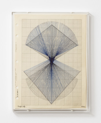 Lenore Tawney Earth & Sky, 1964 India ink on graph paper, perspex frame 27.8 x 21.6 cm, 11 x 8 1/2 ins 29.3 x 23.1 x 2.2 cm, 11 1/2 x 9 1/8 x 7/8 ins, framed Dated '9/15/64'
