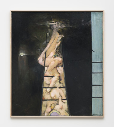 "Dorothea Tanning To Climb a Ladder, 1987 Oil on canvas 120 x 105 cm 47 1/4 x 41 3/8 ins Signed l.r. ""Dorothea Tanning"", inscribed on on verso ""To Climb a Ladder Dorothea Tanning 1987"""