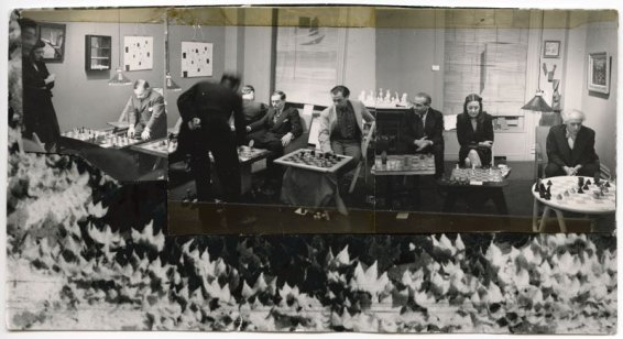 Dorothea Tanning Chess Tournament at the Julien Levy Gallery January 6, 1945 Collage with three photographs by Julien Levy Image size: 8 x 14 cm / 3 1/8 x 5 1/2 in Framed: 25 x 30 cm / 9 7/8 x 11 3/4 in