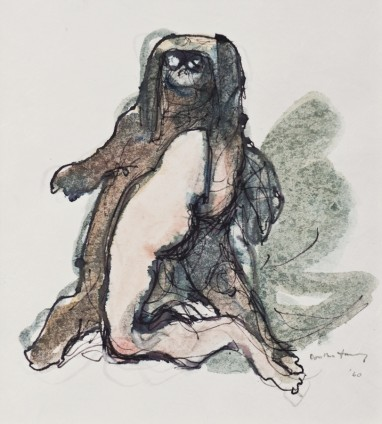 Dorothea Tanning No Contest, 1960 Ink and watercolour on Japan paper 38.4 x 27.9 cm, 15 1/8 x 11 ins 62.8 x 50.5 x 4 cm, 24 3/4 x 19 7/8 x 1 5/8 ins, framed Signed 'Dorothea Tanning '60' (lower right) Inscribed 'No Contest 1960' (bottom edge)
