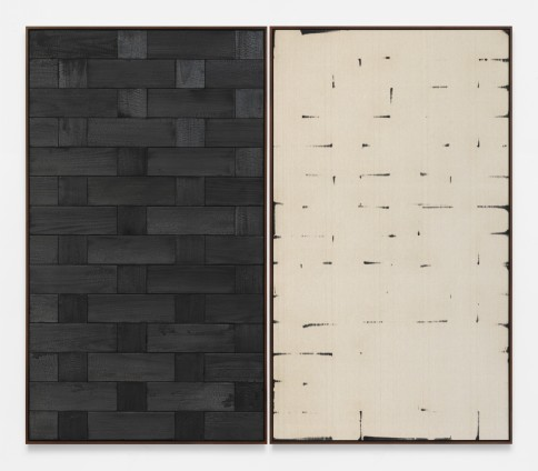 Davide Balula  Burnt Painting, Imprint of the Burnt Painting (B -—-—), 2015  Charred wood, coal dust on linen  Each panel: 217.2 x 125.7 cm / 85 1/2 x 49 1/2 ins