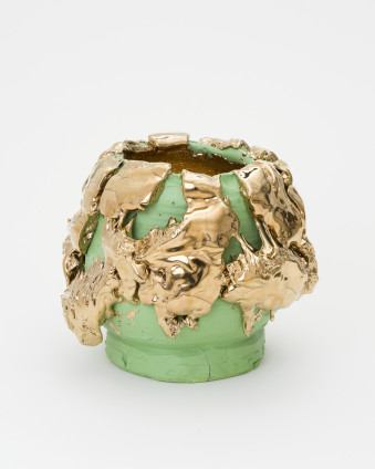 Takuro Kuwata Tea Bowl, 2019 Porcelain, glaze, pigment, platinum, steel 37.5 x 44 x 42.5 cm, 14 3/4 x 17 3/8 x 16 3/4 ins