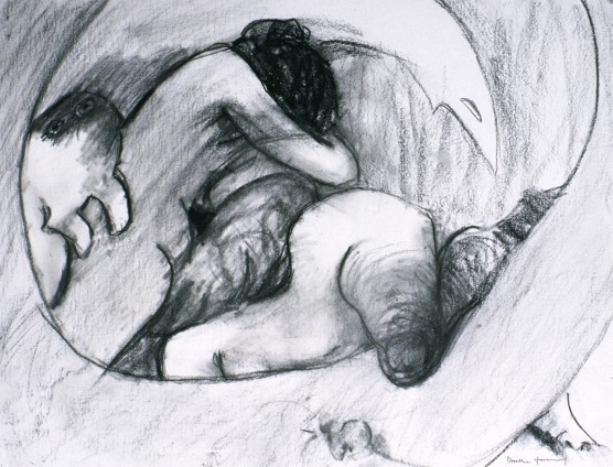 "Dorothea Tanning Study for Aura, 1978 Charcoal on paper 45.7 x 59.7 cm , 18 x 23 ins l.r. ""Dorol.1. ""Study for Aura"""