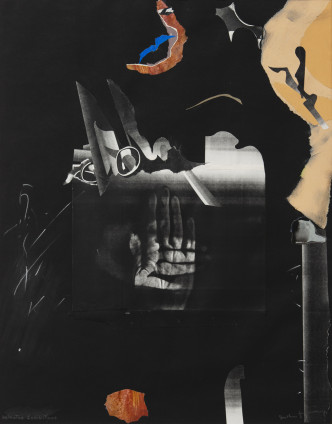 Dorothea Tanning Selected Inhibitions, 1988 Collage with photocopy and crayon on black paper 61 x 48.3 cm, 24 1/8 x 19 1/8 ins 84 x 70.6 cm, 33 1/8 x 27 3/4 ins, framed Signed 'Dorothea Tanning' (lower right) Inscribed 'Selected Inhibitions' (lower left)