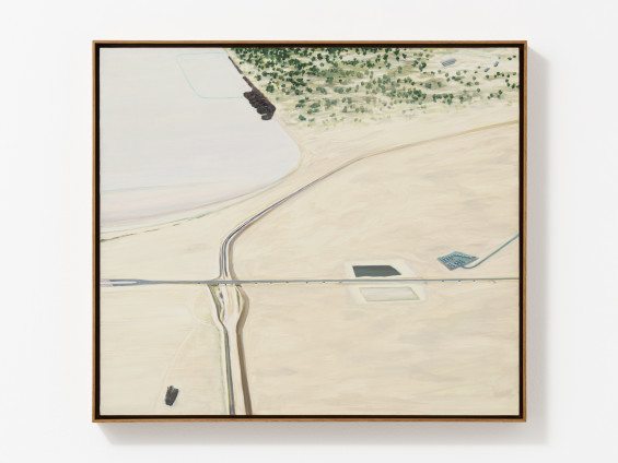 Carol Rhodes Sea and Motorway, 1998 Oil on board 42 x 48 cm, 16 1/2 x 18 7/8 ins 41.8 x 47.7 cm 16 1/2 x 18 3/4 ins framed Signed, titled and dated (upper middle verso)
