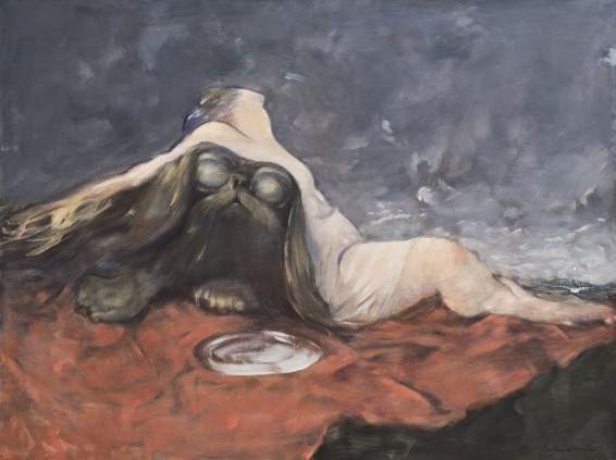 "Dorothea Tanning Reality, 1973-83 Oil on canvas 97.5 x 130.5 cm, 38 3/8 x 51 3/8 ins 101 x 134 x 4.5 cm, 39 3/4 x 52 3/4 x 1 3/4 ins, framed Signed l.r. ""Dorothea Tanning"", inscribed on verso ""Realité Dorothea Tanning 1973-83"""