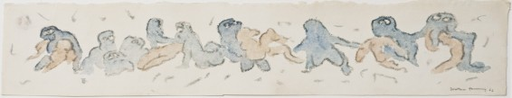 Dorothea Tanning Untitled (Frieze), 1966 Crayon and watercolour on paper 12.7 x 67 cm, 5 x 26 3/8 ins 36.9 x 89.2 cm, 14 1/2 x 35 1/8 ins, framed Signed 'Dorothea Tanning' (lower right) Inscribed on verso '6'
