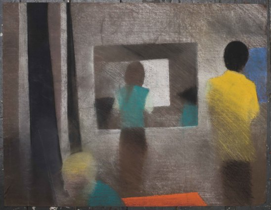 Sue Dunkley  Untitled, c. 1980  Pastel on brown paper  50 x 65 cm, 19 3/4 x 25 5/8 ins, paper size  63 x 76 cm, 24 3/4 x 29 7/8 ins, framed
