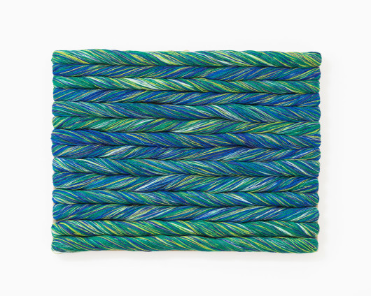 Sheila Hicks Torsade Turquoise, 2017 Linen 46.5 x 62 cm, 18 1/4 x 24 3/8 ins Unique Signed and dated on verso