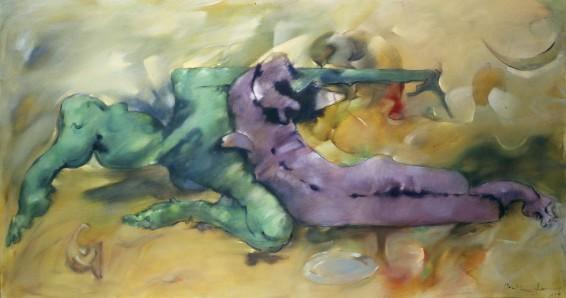 """Dorothea Tanning Salut, délire! (Hail, Delirium!), 1979 Oil on canvas 111.8 x 208.3 cm, 44 x 82 ins l.r. """"Dorothea Tanning 1979"""""""