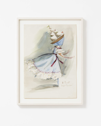 "Dorothea Tanning Costume for ""Night Shadow"": A Guest, 1945 Watercolour and wash on paper 35.3 x 25.1 cm, 13 7/8 x 9 7/8 ins 41.8 x 31.4 cm, 16 1/2 x 12 3/8 ins, framed Signed lower right ""Tanning"" Inscribed lower right ""A Guest"" and ""Night Shadow"""
