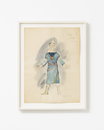 "Dorothea Tanning Garde (Ange) (Costume Design for Judith), 1961 Watercolour and wash on paper 37.7 x 28 cm, 14 7/8 x 11 ins 44.3 x 32.5 cm, 17 1/2 x 12 7/8 ins, framed Signed lower right ""Dorothea Tanning"" Inscribed upper right ""Garde (Ange) (Dessailly) """