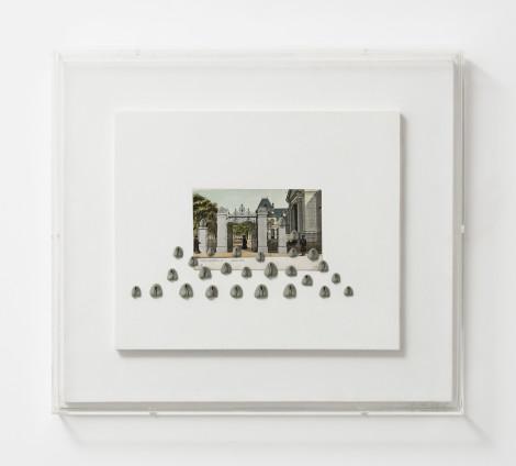 Hannah Wilke  Brown Gate, 1974  Kneaded erasers, vintage postcard, painted board  39.1 x 44.1 cm, 15 3/8 x 17 3/8 ins, framed  Signed 'Wilke 74'