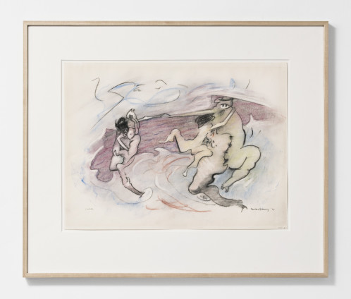 "Dorothea Tanning Combat, 1971-86 Charcoal and pastel on paper 45.7 x 61 cm, 18 x 24 ins 69.9 x 83.2 cm, 27 1/2 x 32 3/4 ins, framed Signed lower right ""Dorothea Tanning 71"" and ""64223"""