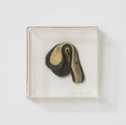Hannah Wilke Untitled (Single Gum Sculpture), 1984 Chewing gum in Plexiglas box 6.4 x 6.4 x 2.5 cms, 2 1/2 x 2 1/2 x 1 ins Signed and dated bottom right