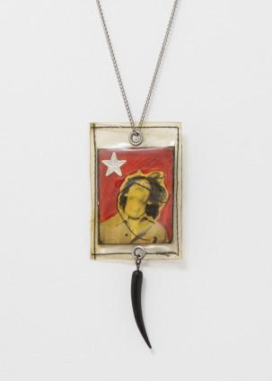 Robert Mapplethorpe Necklace (Photo Booth Self-Portrait Medallion), 1969-1970 Mixed media 6 x 4.5 cm, 2 3/8 x 1 3/4 ins Unique