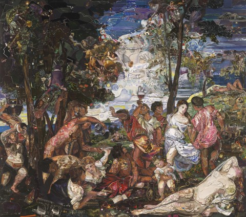 Vik Muniz, The Prado Museum, Bacchanal of the Andrians, after Titian (Repro), 2015