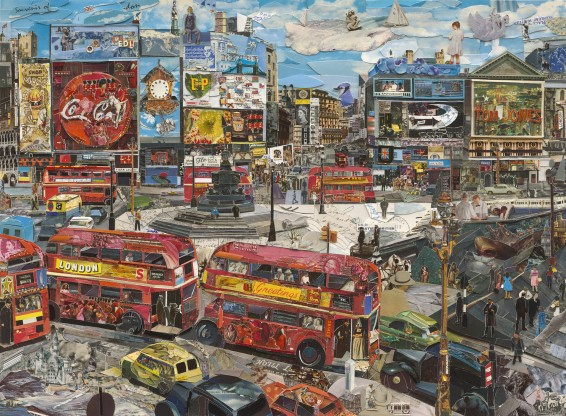 Vik Muniz, Piccadilly Circus (Postcards from Nowhere), 2014