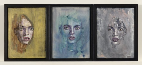 Clare Shenstone, Gold, Turquoise and Silver Head Triptych, 2008