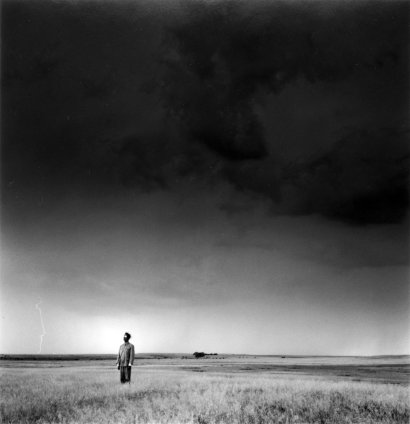 Tseng Kwong Chi, Lightning Field, North Dakota (Left), 1987