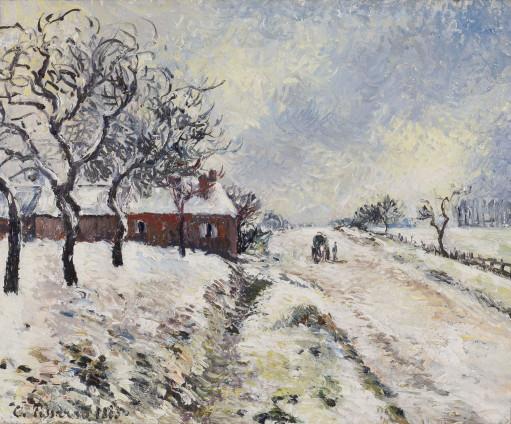 Camille Pissarro, Route enneigée avec maison, environs d'Eragny, 1885