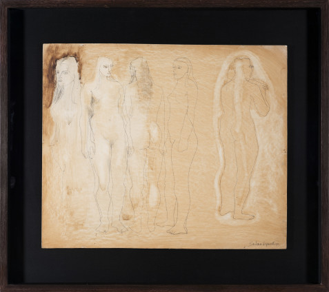 Barbara Hepworth, Group of Figures and Head (Burnt Umber), 1951