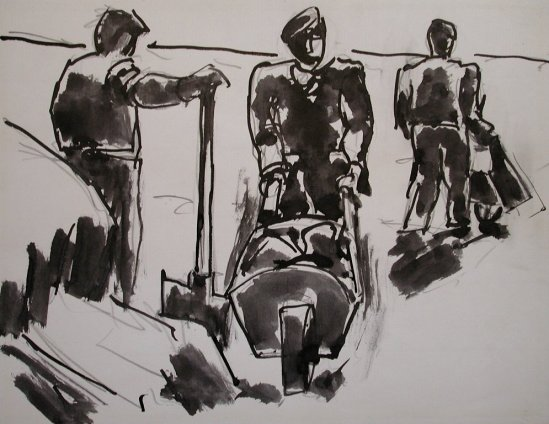 Josef Herman, Three men with wheelbarrows, 1969