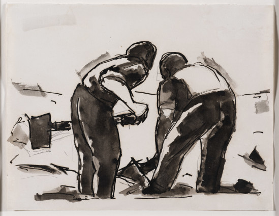 Josef Herman, Two men with shovels, 1956