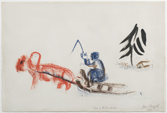 Marc Chagall, Le traineau au cheval rouge, 1957