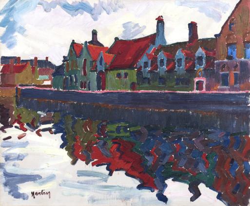 Auguste Herbin, Maisons au Quai Vert, Bruges, 1906
