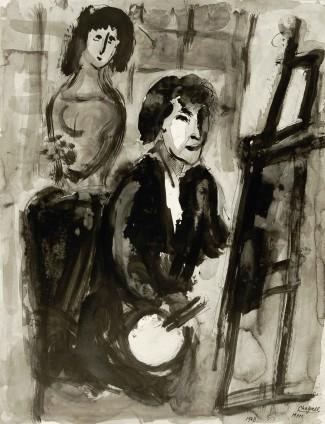 Marc Chagall, Le Peintre au chevalet, 1948
